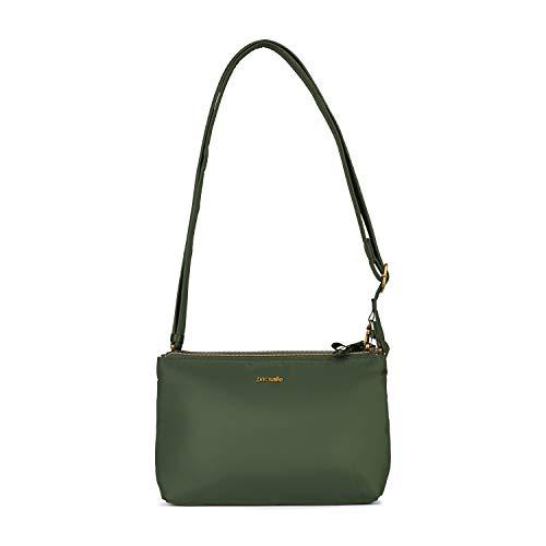 Pacsafe Stylesafe Double Zip Crossbody, Umhängetasche mit Doppelreißverschluss, Damen Handtasche mit mit Diebstahlschutz, Grün / Kombu Green
