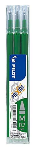PilotBLS-FR7-G-S3 Refill per Penna a Sfera Frixion Ball Pilot, 0.7 mm, Confezione da 3, Verde