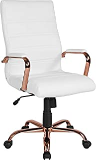 Emma + Oliver High Back White Leather Executive Swivel Office Chair - Rose Gold Frame