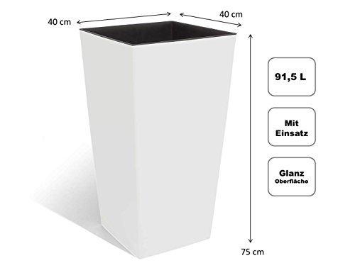 XXL Design Pflanztopf aus Kunststoff in Hochglanz Weiß mit herausnehmbaren Einsatz. Maße BxTxH in cm: 40 x 40 x 75 cm. 91,5 Liter Volumen!
