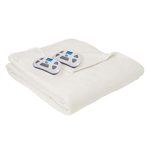 Serta | Brushed Fleece Heated Electric Blanket with Programmable Digital Controller, Queen, Natural