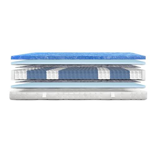 AM Qualitätsmatratzen - Gelschaum-Matratze 90x200cm H3 - Taschenfederkernmatratze Gelschaum 90 x 200 - Matratze mit integrierter 6cm Gelschaum-Auflage - 24cm Höhe - Made in Germany