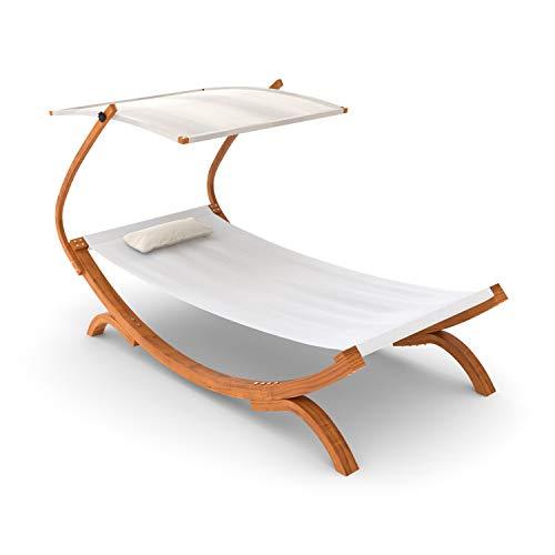 Ampel 24 Sonnenliege Panama mit Dach Creme weiß, Gartenliege mit Holzgestell wetterfest, Sonnendach verstellbar, Liege mit Kissen