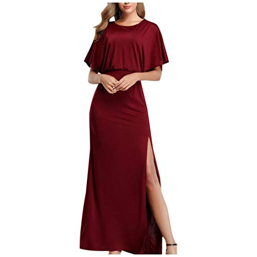 Best Buy! Witspace Women Sexy Temperament Dress Knit O-Neck High Split Short Sleeve Evening Gown