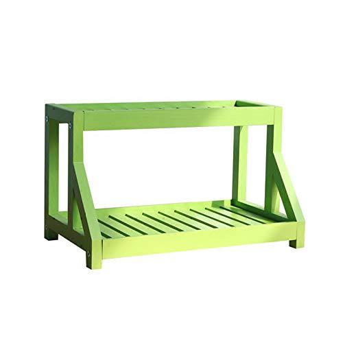 Organizador de escritorio de pino natural, estante de escritorio ajustable, organizador de escritorio de oficina, organizador de escritorio para plantas, soporte de flores (verde)