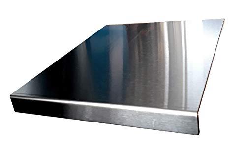 Protector de encimera de acero inoxidable con borde cuadrado, plano o redondo (incluye pies de goma antideslizantes) 400 x 300mm Square Fold plata