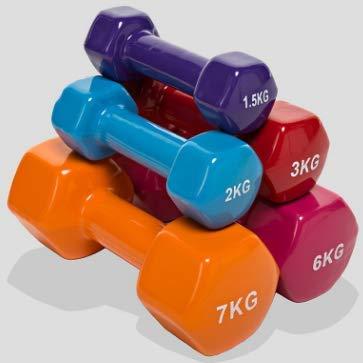 1 Pesa de Gimnasia Neopreno o Antideslizante de 6kg, Mancuerna Ejercicio Fitness de Neopreno con Equ