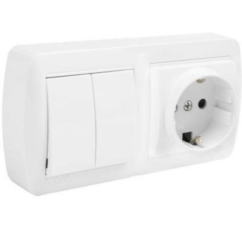 Schuko + Interruptor/Conmutador de Superficie • Interruptor conmutador DOBLE de superficie • Enchufe de pared • Toma corriente • Color blanco