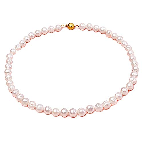 JYX Pearl - Weiße Süßwasser Perlenkette Sterling-Silber 925 Legierung Flat Round Rund Süßwasser-Zuchtperle