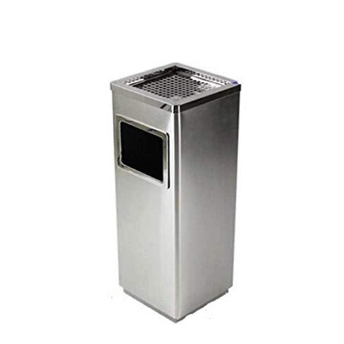 Bote de basura Bote de basura Papeles de basura cuadrada al aire libre con tapa Lobby Zona de fumadores Acero inoxidable Cromo reciclaje Papelera de reciclaje interior Barra de basura (Color: Verde, T