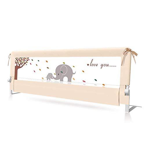 MUMA Riel para cama de 150 cm - Protector de cama para cama para niños pequeños - Protector de cama tamaño Queen para niños - Estampado de elefante - Sueño seguro para cama doble