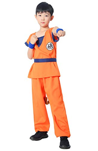 Japanese Amime Son Goku Kame Style Kids Cosplay Costumes 5-Piece Set(4Y-5Y)