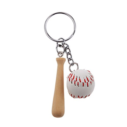 Flowerrs Baseball Schlüsselanhänger, Mini Baseballschläger Set PU Leder Holz Schlüsselanhänger Schlüsselanhänger