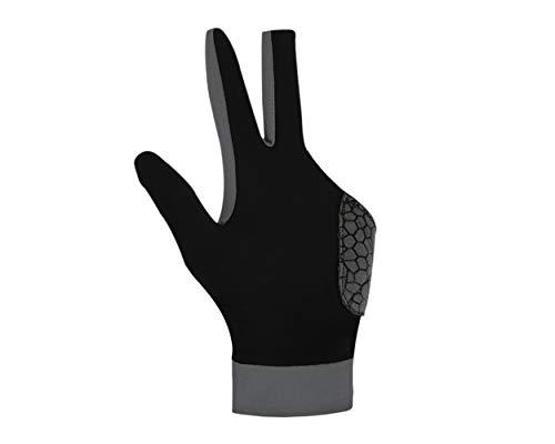SCSpecial Guante de billar con almohadilla para mano izquierda puente 1 pieza, 3 dedos elástico lycra elástico taco billar snooker guante - gris