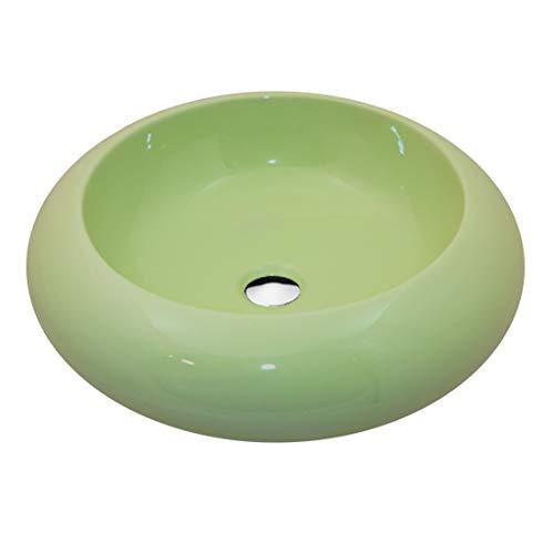 NEG Waschbecken Uno22A (rund) Aufsatz-Waschschale/Waschtisch (grün) mit breitem Rand und Nano-Beschichtung
