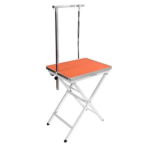 Mini Size Pet Dog Portable Grooming Table by Flying Pig Grooming (Orange)