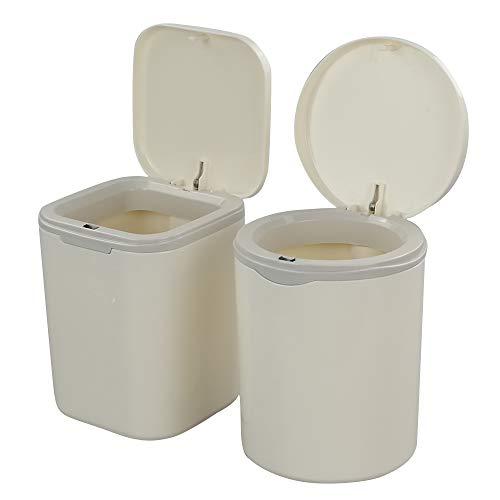 Dynko 2 Stück Abfallbehälter mit Deckel, Kleine Plastikmülleimer (Weiß)