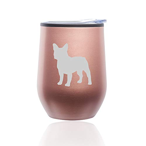Stemless Wine Tumbler Coffee Travel Mug Glass with Lid French Bulldog (Rose Gold)