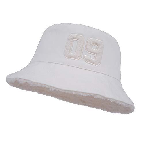 HT LT Moda Cordero Terciopelo Olla Sombrero Femenino otoño Invierno Lindo 09 Digital Olla Sombrero Sombrero cálido Grueso,Blanco
