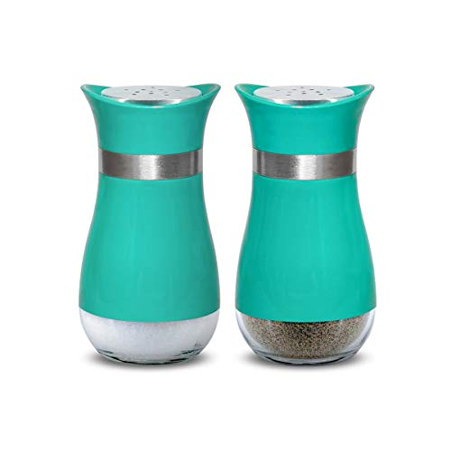 Salt and Pepper Shakers Set Stunning Glass Salt Pepper Shaker as Pioneer Cooking Gift for Mom Woman Dad Families - Turquoise
