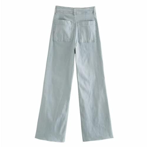 Vaqueros de Mujer Pantalones Anchos de Pierna Ancha Desgastados deshilachados y Desgastados de Color Liso y Lavados a la Piedra M