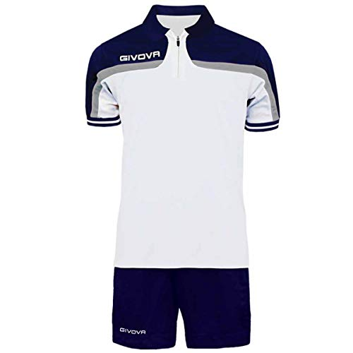 Giosal Completo Tuta Givova Kit Fast Polo Pantaloncini Blu Bianco Bicolore Completino Free Time KITFAST-Bianco-Blu-XL