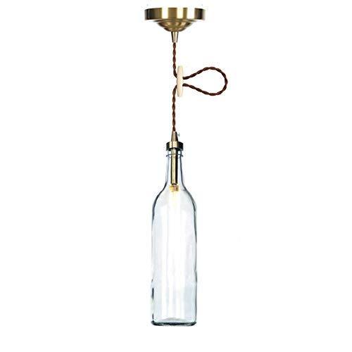 Lámpara Colgante Industrial Retro con Botella de Vidrio Multicolor, Acabado de latón, Alambre Trenzado Vintage Ajustable, lámpara Colgante de Techo Loft Bar E27 - Verde