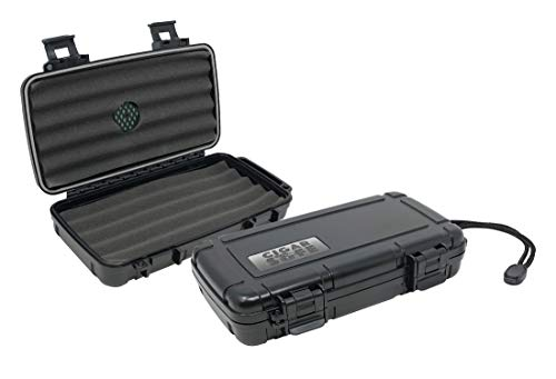 Prestige Import Group Cigar Safe Waterproof Travel Cigar Humidor Case - Holds up to 5 Cigars - Color: Black