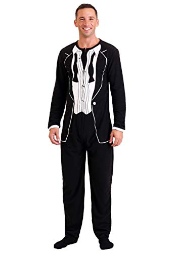 Bioworld Merchandising Men's 1970's After Party Black Tuxedo One Piece Pajama (Large)