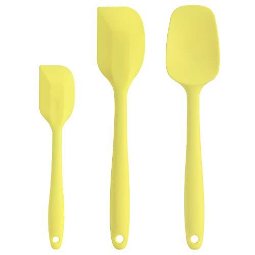 Cooptop Silicone Spatula Set - Rubber Spatula - Heat Resistant Baking Spoon & Spatulas(Macaron Yellow)