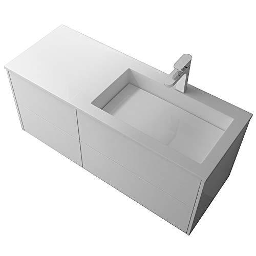 Mai & Mai Mineralguss-Waschbecken 46 cm in weiß glänzend 2-teilig inkl. Waschbeckenunterschrank mit 4 Schubladen Serie Moment montagefertig