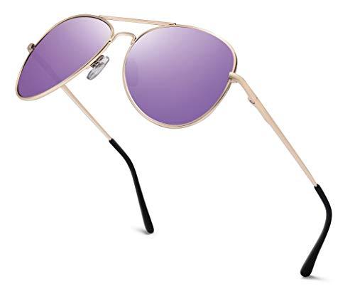 Gafas de aviador para hombre con espejo | Gafas de sol unisex con bisagra de muelle | Filtro de protección UV400 categoría 3 CE Marco dorado, cristal lila con efecto espejo. Talla única