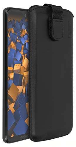 mumbi Echt Ledertasche kompatibel mit Motorola Moto G7 Hülle Leder Tasche Hülle Wallet, schwarz