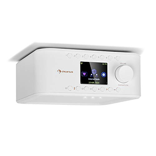 auna Sound Maître - Küchenradio, Internet/DAB+/FM Unterbauradio, Bluetooth-Funktion, TFT-Farbdisplay, Stereo-Lautsprecher, 2 x 1 Watt RMS, AUX-Eingang, LED-Licht, Küchentimer, weiß