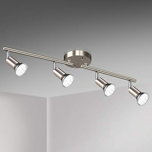Unicozin LED 4 Light Track Lighting Kit, Matt Nickel 4 Way Ceiling Spot Lighting, Flexibly Rotatable Light Head, Modern Track Light Included 4 x LED GU10 Bulb (4W, Daylight White 5000K, 400LM)