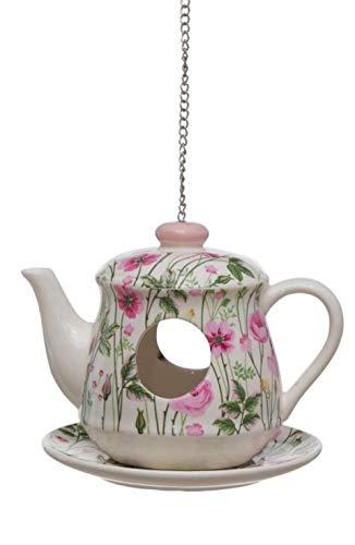 CasaJame Vogelhaus Futterhaus für Balkon und Garten, Nistkasten, Haus für Vögel, Vogelhäuschen, Teekanne Kaffeekanne mit Blumenwiese mit rosa Blüten aus Steingut 15x15x15cm