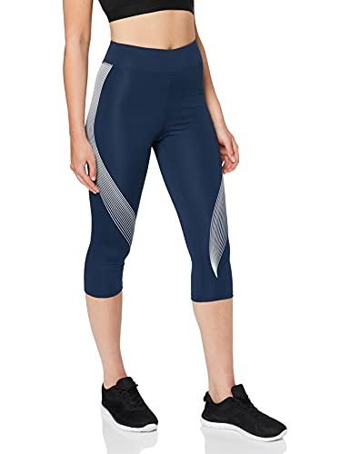 Marca Amazon - AURIQUE Mallas De Deporte Capri Estampadas Mujer, Azul (Dress Blue/White), 38, Label:S