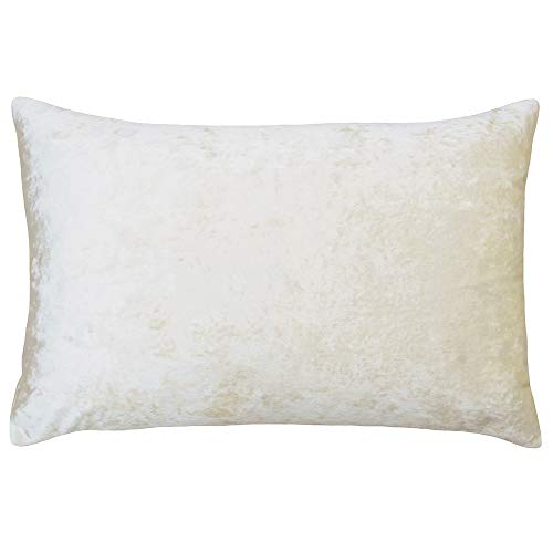Riva Paoletti Verona Cushion Cover Rectangle - Ivory Cream - Velvet Feel - Crushed Velvet Look - Hidden Zip Design - 100% Polyester - 40 x 60cm (16' x 24' inches) - Designed in the UK