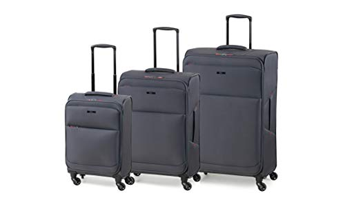 Rock Ever-lite 3 Piece Set (55/67/78cm) Softside Luggage Lightweight Four Wheel Suitcase Charcoal