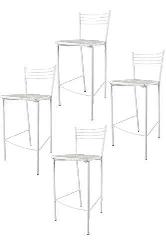 t m c s Tommychairs - Set 4 taburetes Elena para Cocina y Bar, con Estructura en Acero Blanco y Asiento tapizado en simil Paja Color Blanco
