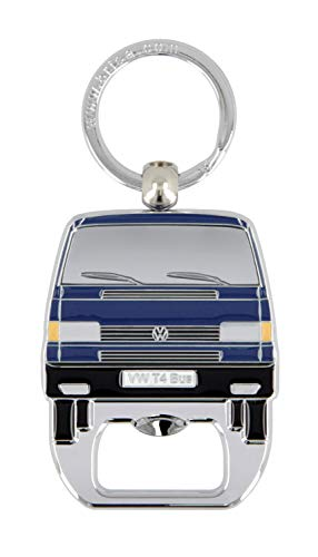 Brisa VW Collection - Volkswagen Hippie Bus T4 Camper Van Anello Portachiavi Retro con Apri-Bottiglie, Decorazione Vintage per Mazzo di Chiavi/Zaini/Borse Come Souvenir/Idea Regalo (Blu)