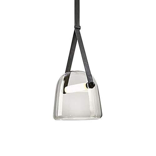 MGWA Dormitorio Cabecero Barra De Salón Modelo LED Pequeña Lámpara Colgante De Cuero De La Personalidad Creativa De Vidrio Contemporánea (20 * 19 Cm) lámpara de Techo