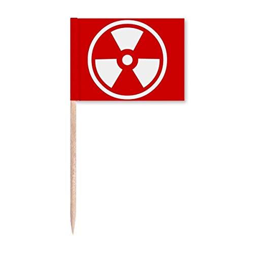 Ionisierende Strahlung rot quadratisch Warnmarkierung Zahnstocher Flaggen Marker Topper Party Dekoration