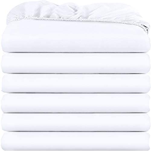 Utopia Bedding Twin Fitted Sheets – Bulk Pack of 6 Bottom Sheets – Soft Brushed Microfiber – Deep Pockets – Shrinkage & Fade Resistant – Easy Care (White)