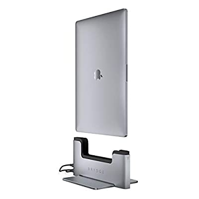 Brydge Vertical Dock   Compatible with 15-inch MacBook Pro with Touch Bar (2019-2016)   2 x Thunderbolt™ 3 Ports   (Space Gray)
