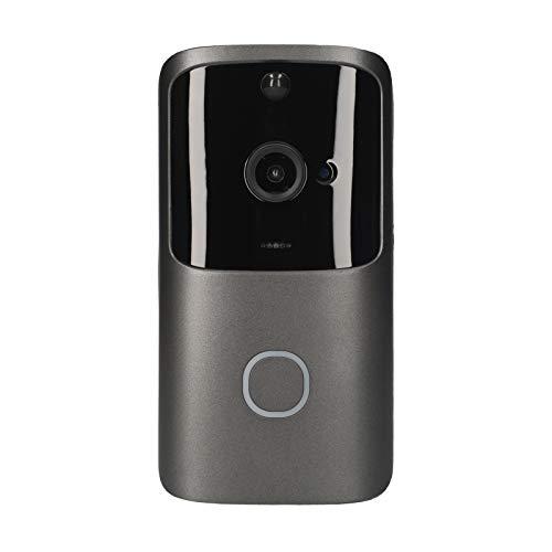 Decdeal Timbre de Video Inalámbrico 720P con Wi-Fi,Cámara de Seguridad de Dos Vías para El Hogar,Visión Nocturna/Ángulo de Visión de 166 °,Admite Almacenamiento En La Nube o Tarjeta TF