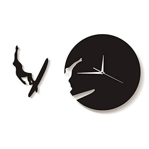 xinxin Relojes de Pared Reloj de Tiempo de Surf Reloj Regalo de Verano para Amantes del Surf Avid Surfers Arte de Pared 3D Decoración del hogar Reloj de Sala de Estar Reloj de Pared Moderno