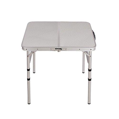 Portable Pliant extérieur Table de Camping Pliable en Deux et réglables en Hauteur léger en Aluminium Table de Pique-Nique 61 x 45,7 x 63,5 cm