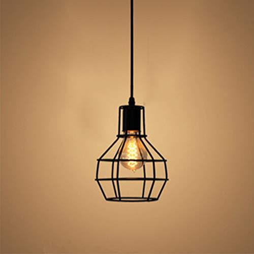 Lámpara de Techo Lámpara Industrial Luz Vintage Lámpara Colgante Luz de Pantalla Jaula de Hierro Estilo Rústico Casquillo E27 No Incluye Bombilla para Decoración Interior Comedor, Negro