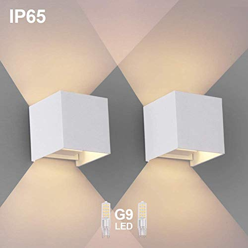 2 PCS Wandleuchte G9 LED Wandlampe Innen/aussen Modern Wasserdichte ip65 Wandlampen 3000K Beleuchtung für Badezimmer, Balkon, Treppen, Terrasse, außen, bad leuchten (weiß)